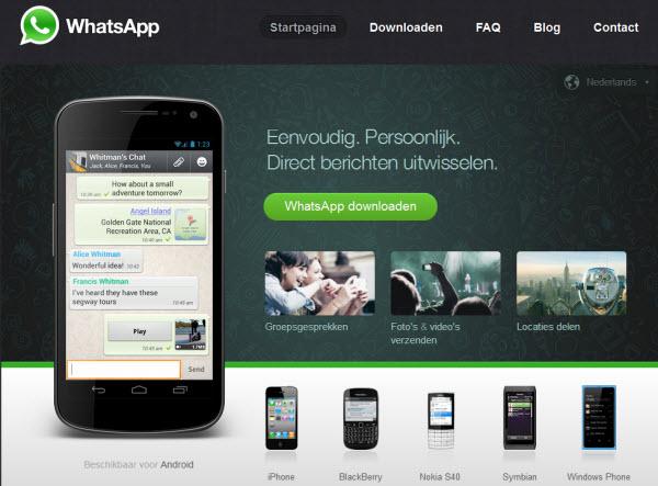 homepage van whatsapp