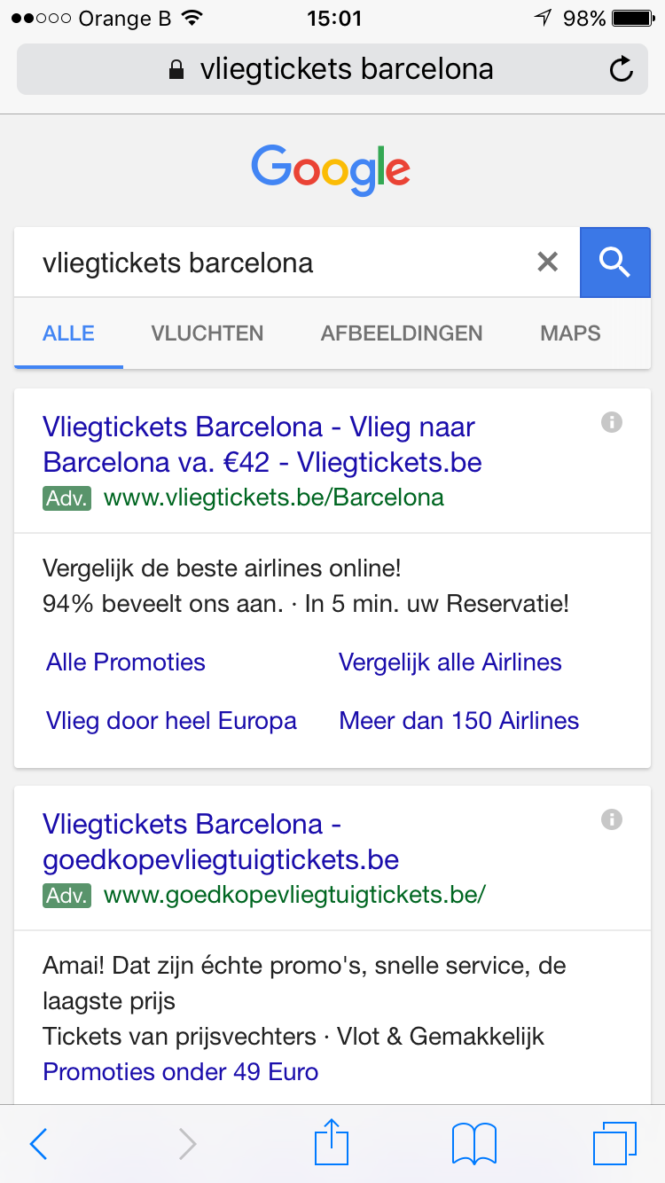 screenshot mobile PPC