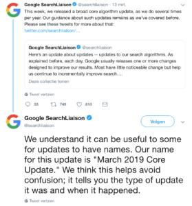 Google bevestigt update