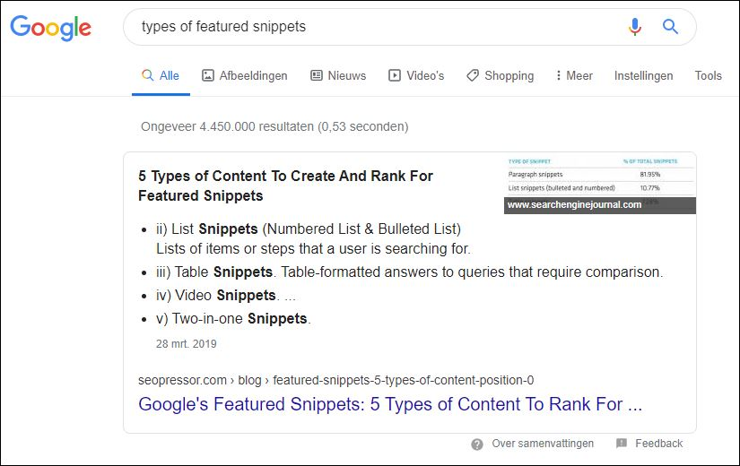 Featured Snippet Lijst