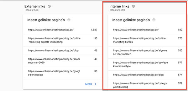 Search Console interne links