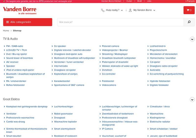 Html user sitemap voorbeeld