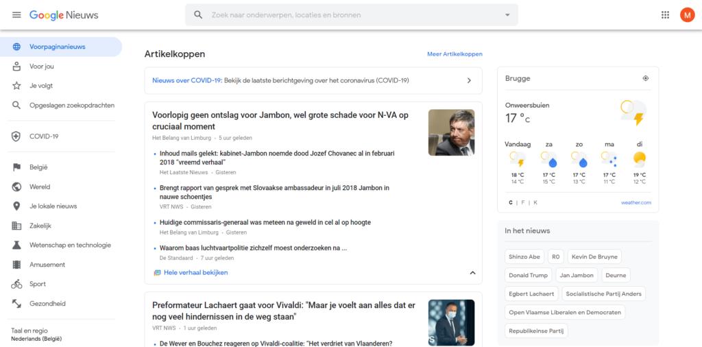 Google News overzicht van het openingsscherm