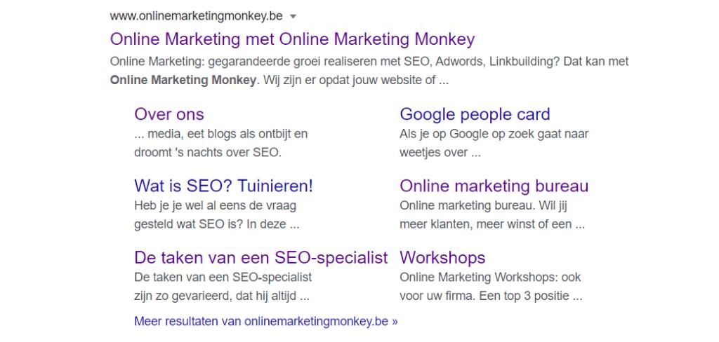 In dit organische zoekresultaat van het zoekwoord 'Online Marketing Monkey' zie je de verschillende Google sitelinks.