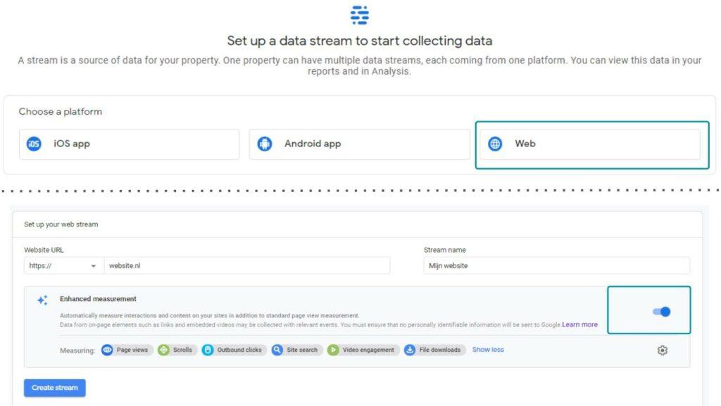 Een nieuwe property creëren in Google Analytics 4 (deel 2)