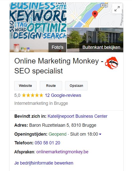 Google My Business OMM in de zoekresultaten