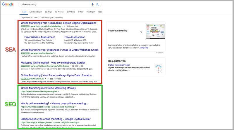 Het verschil tussen SEO en SEA in de zoekresultaten