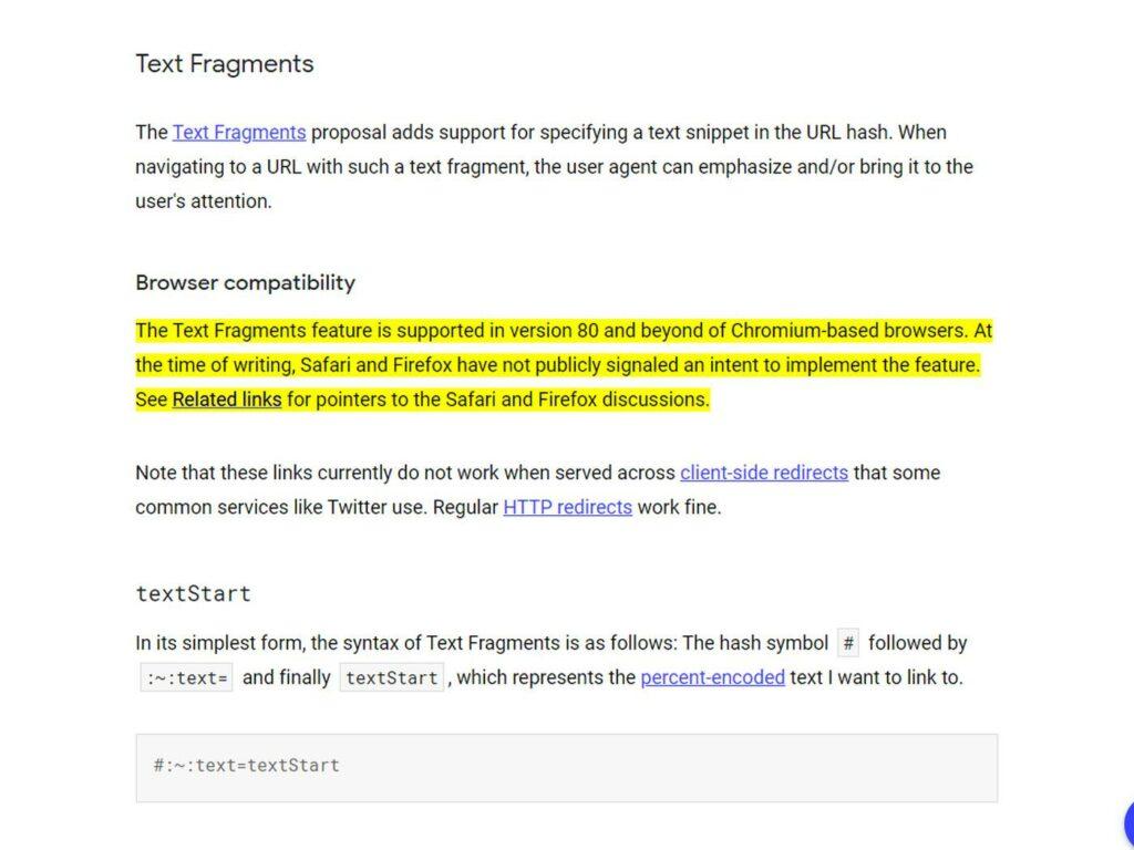 Voorbeeld link to text fragment extensie van Google Chrome