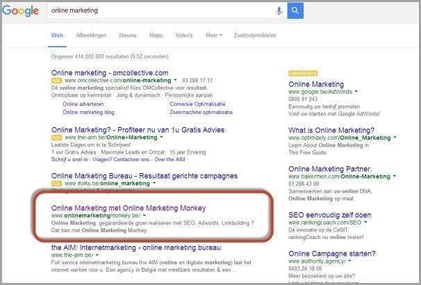 SERP voor online marketing