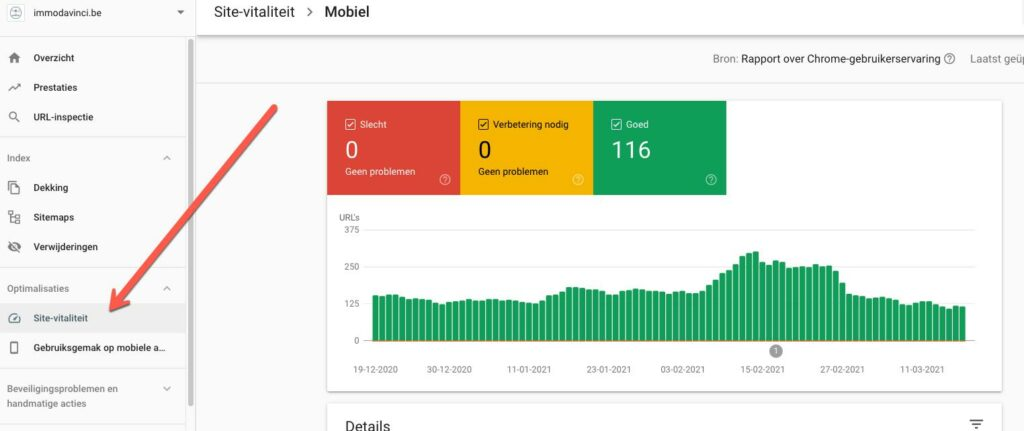 Google web core vitals meten en verbeteren in Google Search Console